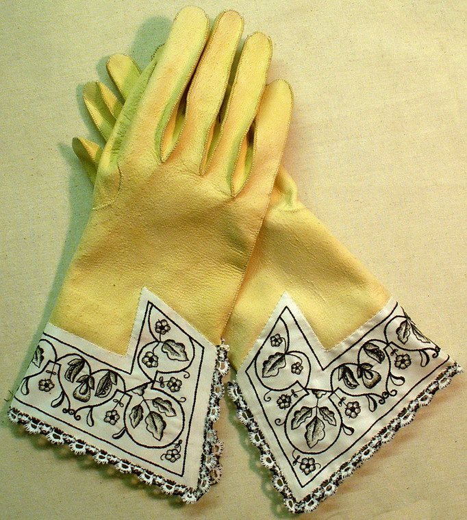 16th century gloves with emroided cuffs