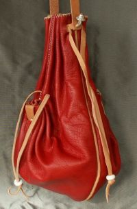 16th/17th century ladies draw string purse with two side pockets and piped seams