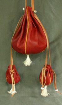 Ladies 15th/16th century round drawstring purse with miniature purses